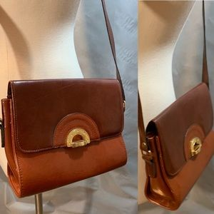 Vintage Art Deco Crossbody Shoulder Bag Brown Gold